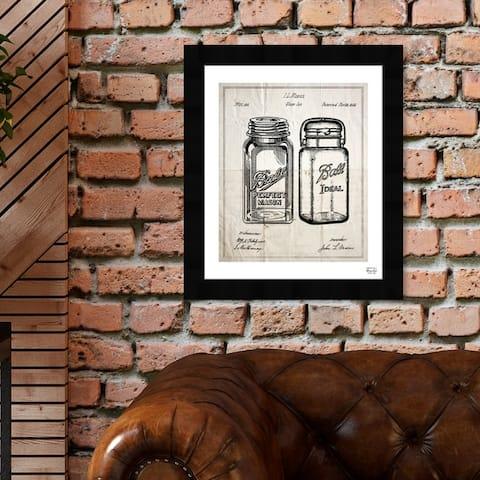 Oliver Gal 'Mason Jar - Adapted 1853' Food and Cuisine Framed Blueprint Wall Art - Black, White