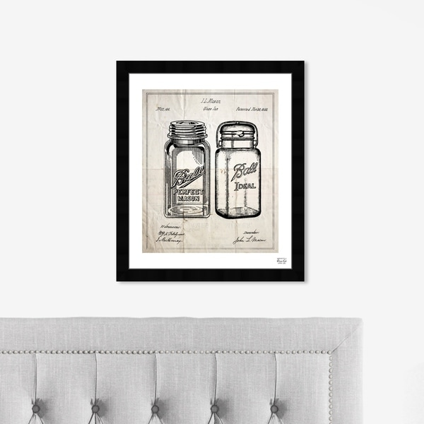 Oliver Gal 'Mason Jar - Adapted 1853' Food and Cuisine Framed Blueprint Wall Art - Black, White