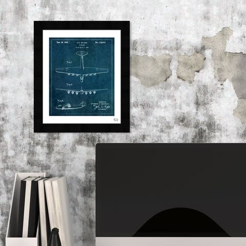 Oliver Gal 'Airplane 1942' Transportation Framed Blueprint Wall Art - Blue, White