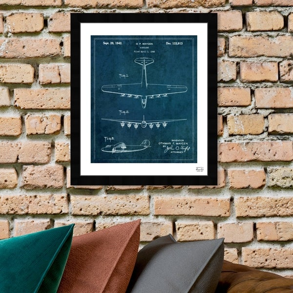 Oliver Gal 'Airplane 1942' Framed Blueprint Wall Art. Opens flyout.
