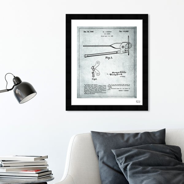 Oliver Gal 'Can Opener 1938' Food and Cuisine Framed Blueprint Wall Art - White, Black