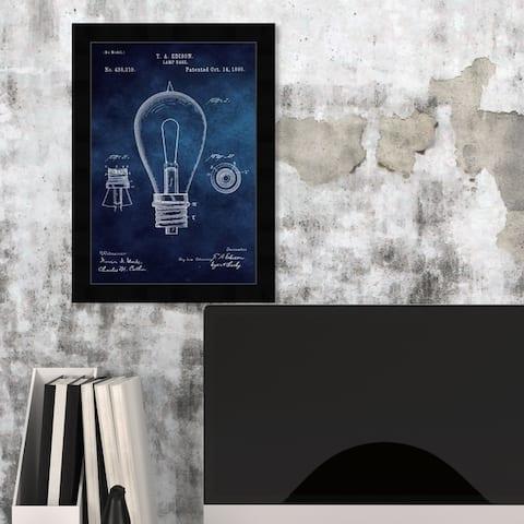 Oliver Gal 'Edison Lamp Base 1890 Blue Chalkboard ' Symbols and Objects Framed Blueprint Wall Art - Blue, White