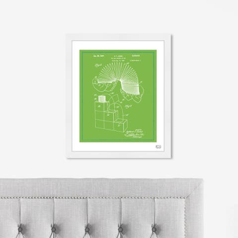 Oliver Gal 'Slinky 1947' Entertainment and Hobbies Framed Blueprint Wall Art - Green, White