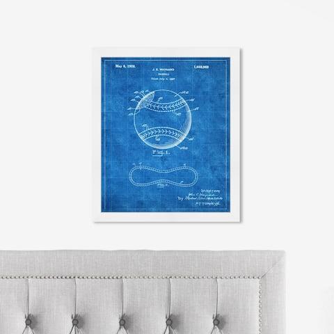 Oliver Gal 'BASEBALL, 1928 - TOM Ligh' Sports and Teams Framed Blueprint Wall Art - Blue, White
