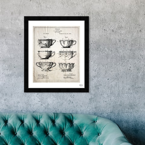 Oliver Gal 'Design far A Cup 1898' Food and Cuisine Framed Blueprint Wall Art - Black, White