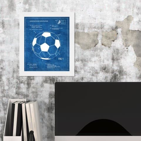 Oliver Gal 'Soccer ball 2012 BLUE' Sports and Teams Framed Blueprint Wall Art - Blue, White