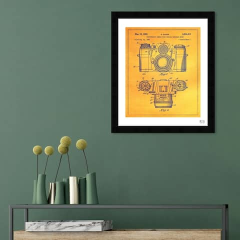 Oliver Gal 'Sauer Photographic Camera 1962' Entertainment and Hobbies Framed Blueprint Wall Art - Yellow, Black