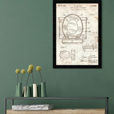 Oliver Gal 'Toilet Seat 1956 Parchment' Bath and Laundry Framed Blueprint Wall Art - Brown, White