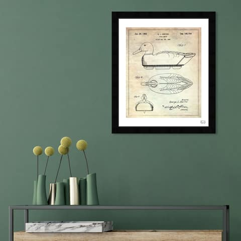 Oliver Gal 'Duck Decoy 1952' Symbols and Objects Framed Blueprint Wall Art - Brown, Black