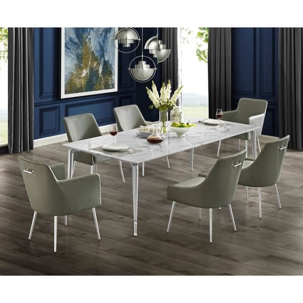 Nicole Miller Camron Marble Top Dining Table With Brushed Metal Legs Overstock 28756298