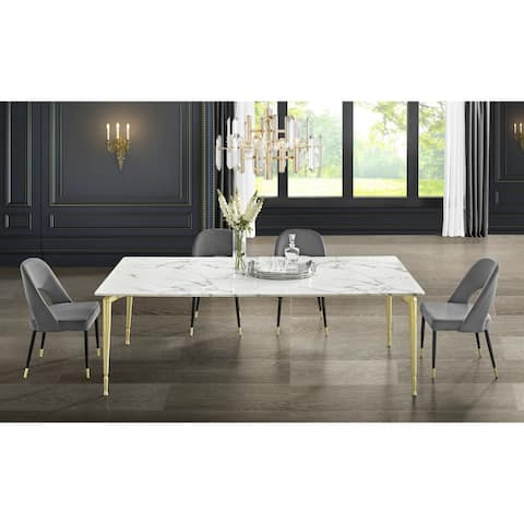 Nicole Miller Camron Marble Top Dining Table with Brushed Metal Legs