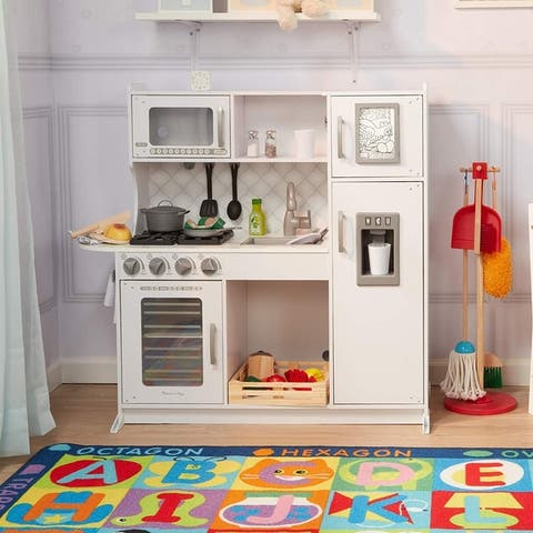 Melissa & Doug Wooden ChefS Pretend Play Toy Kitchen with Ice Cube Dispenser  Cloud White
