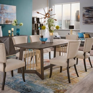 Steinn Antiqued Metal and Reclaimed Wood Dining Set with 86-inch Table by iNSPIRE Q Bold