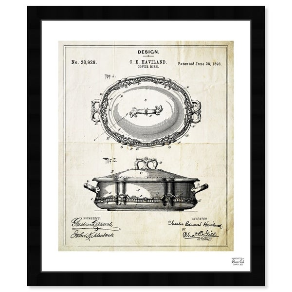 Oliver Gal 'Cover Dish 1898' Food and Cuisine Framed Blueprint Wall Art - White, Black