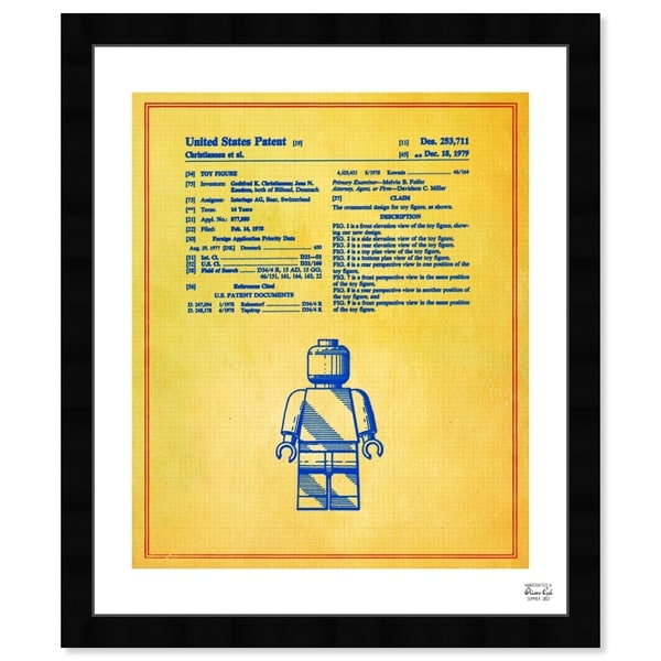Oliver Gal 'Lego Toy Figure #3 1979 - Colorful' Symbols and Objects Framed Blueprint Wall Art - Yellow, Blue