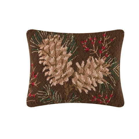 Rustic Retreat Hooked 14 x 18 Decorative Accent Throw Pillow