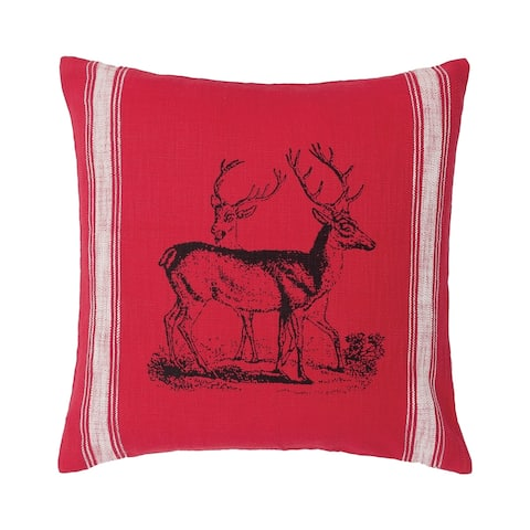 Stag Feed Sack Feed Sack 20 x 20 Decorative Accent Throw Pillow
