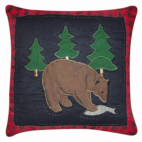 Bear with Fish Applique 14 x 14 Decorative Accent Throw Pillow