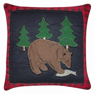Bear with Fish Applique 14 x 14 Pillow