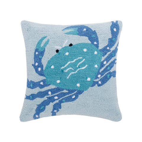 Crab Hooked 18 x 18 Decorative Accent Throw Pillow