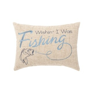 Wishin I Was Fishing Embroidered 12 x 16 Pillow