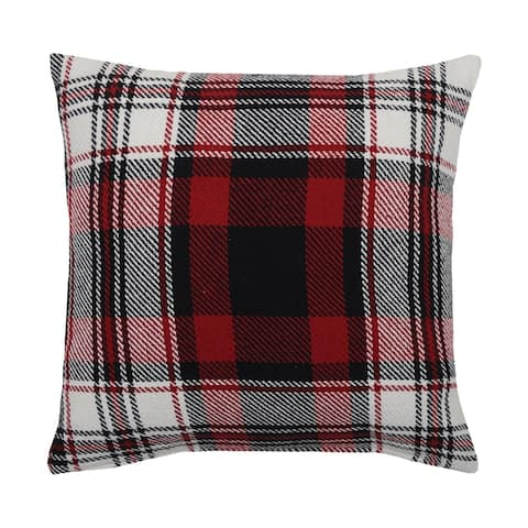 Fireside Plaid 18 x 18 Woven Decorative Accent Throw Pillow