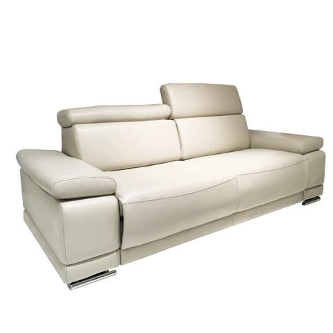 Simone Cream Faux Leather Sofabed