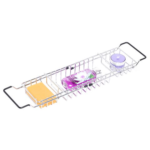 Expandable Metal Bathtub Caddy With, Rubber Handles