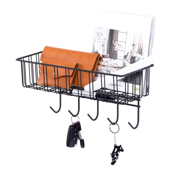 Metal Wall Mounted Entryway Organizer Rack with Hooks