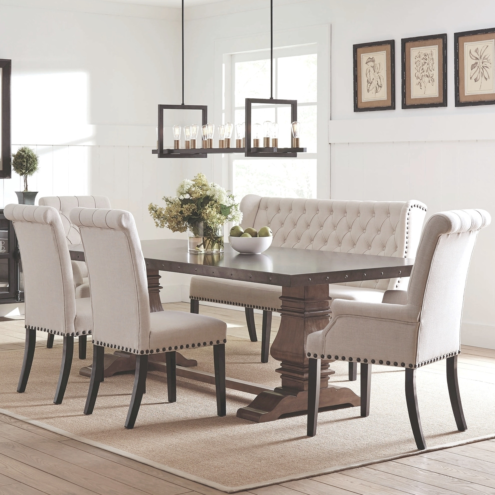 French Baroque Designe Dining Set With Rolled Button Tufted Chairs And Bench Overstock 28756806