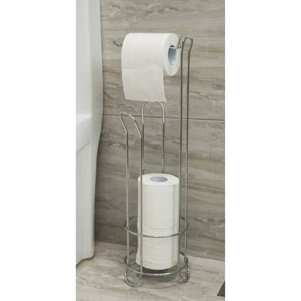 Shop Wire Metal Free Standing Toilet Roll Storage Holder With Rod On Sale Overstock 28756808