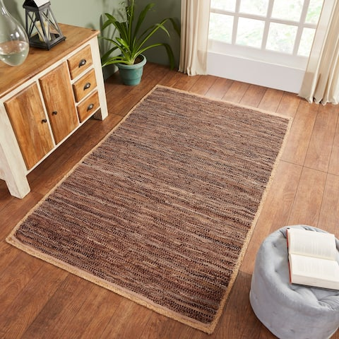 Miranda Haus Hand-Woven Firma Leather, Cotton, and Jute Area Rug