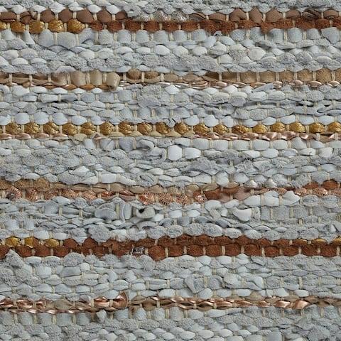 Miranda Haus Hand-Woven Enisle Leather and Cotton Area Rug
