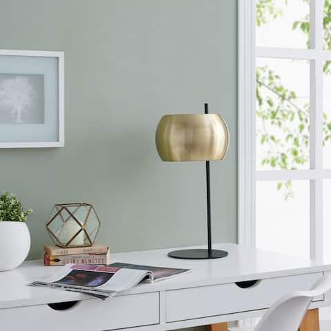 Strick & Bolton Zubley Brass Midcentury Modern Black Metal Table Lamp