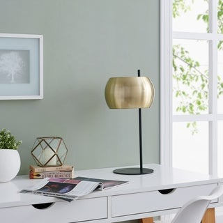 Strick & Bolton Zubley Brass Midcentury Modern Black Metal Table Lamp