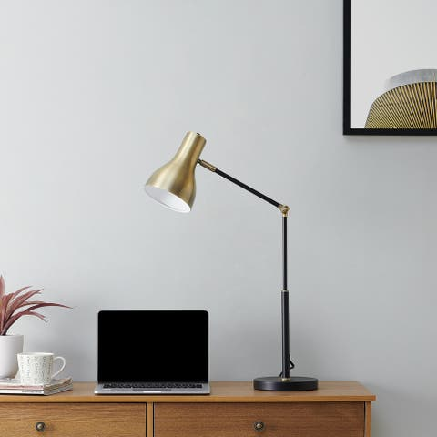 Strick & Bolton Callohill Midcentury Modern Black Metal Office Lamp