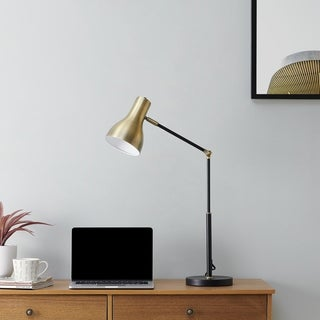 Link to Strick & Bolton Callohill Midcentury Modern Black Metal Office Lamp Similar Items in Table Lamps