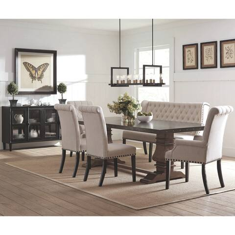 French Baroque Designe Dining Set with Rolled Button Tufted Chairs and Buffet Server