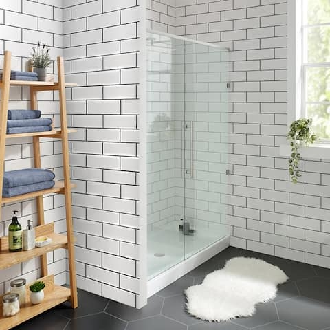 "Voltaire 60"" x 32"" Acrylic White, Single-Threshold, Center Drain, Shower Base"