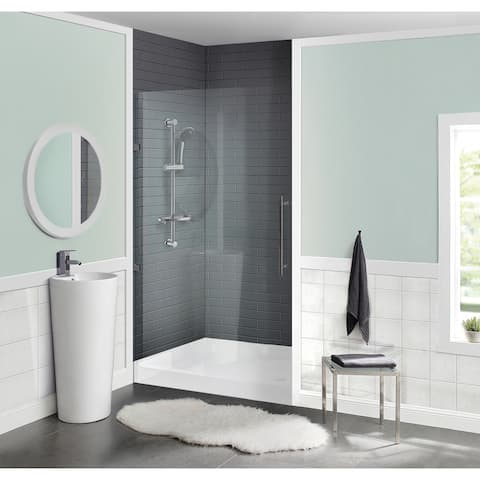 "Voltaire 42"" x 36"" Acrylic White, Single-Threshold, Center Drain, Shower Base"