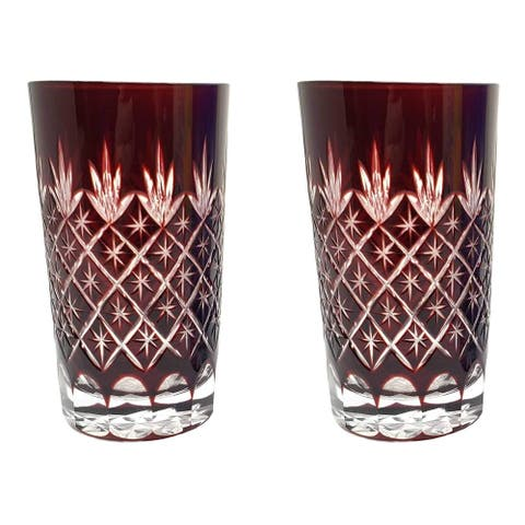 Set of 2 Exquisite Bohemian Crystal Style Cut Czech Drinking Rock Glasses Tumbler Set