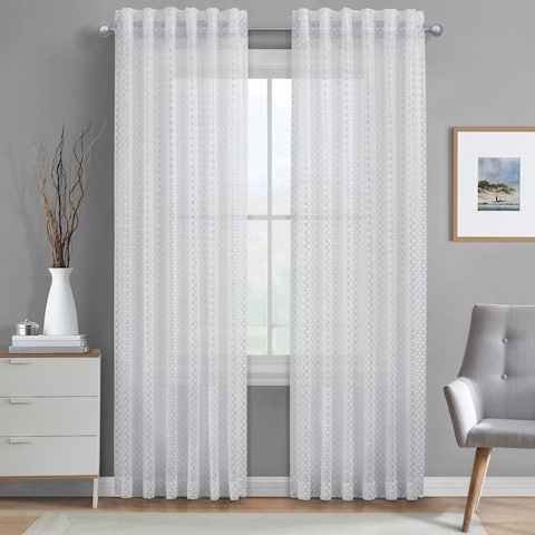 Buy White 108 Inches Back Tab Sheer Curtains Online At