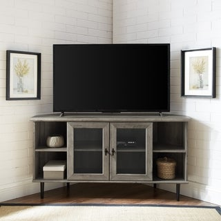 "Carbon Loft 48"" Glass Door Corner TV Console - 48 x 16 x 25H"