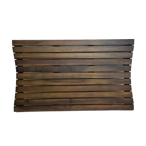 "DecoTeak 31"" x 18"" Teak Shower Bath Floor Mat - WoodLand Brown Finish"