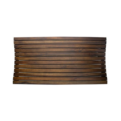 "DecoTeak 40"" x 20"" Teak Shower Bath Floor Mat - WoodLand Brown Finish"
