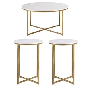 Silver Orchid Mace 3-piece Round X-base Table Set - 36 x 36 x 19H