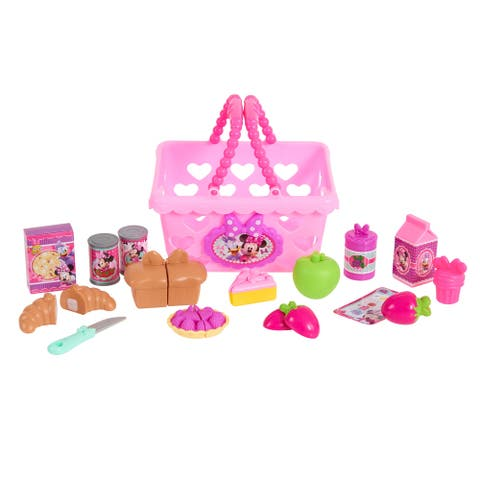 Disney Junior Minnie Mouse Minnie's Happy Helpers Bowtastic Pretend Play Shopping Basket- 24 Pieces