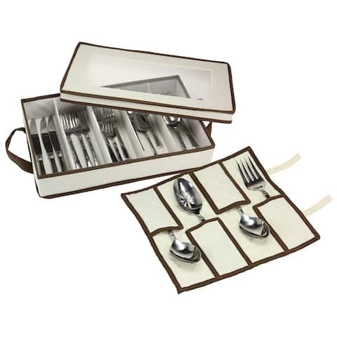 Household Essentials Flatware Storage Chest w/Separate Serving Utensil Pouch Natural Canvas w/Brown Trim
