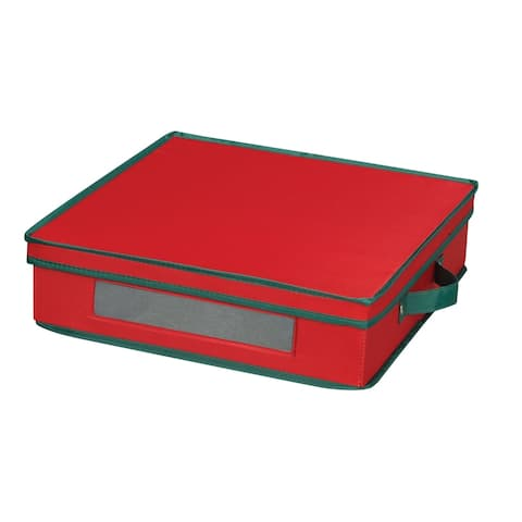 Household Essentials Holiday China Storage Chest for Charger Plates and Platters, Red Canvas w/Green Trim
