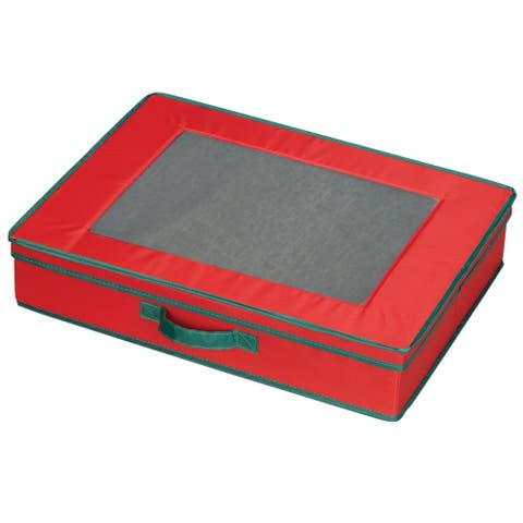 Household Essentials Holiday Vision Storage Box for Tabletop Linen Storage Set, Red Canvas w/Green Trim - 19'' x 15'' x 4''